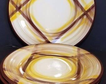 Vernonware Kilns Metlox Poppytrail ORGANDIE 70s 3 Round Platters Plates Serving