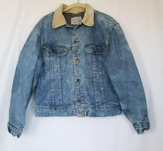 Vintage Lee Storm Rider Mens Denim Jean Jacket Sma