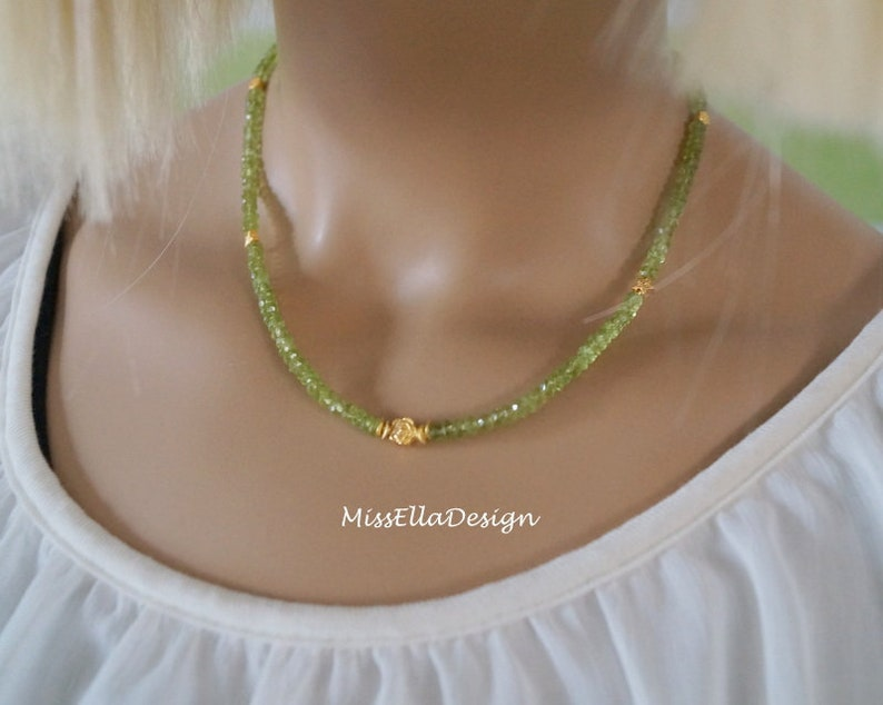 Chain Peridot 925 Silver gold plated