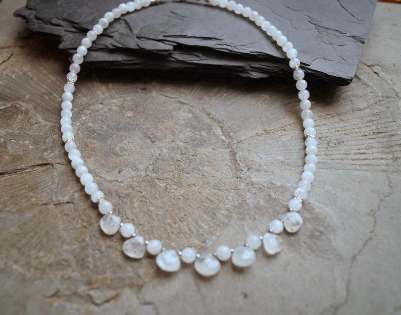Chain Rainbow Moon Stone White Labradorite 925 Silver