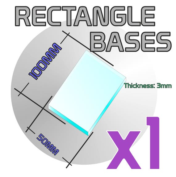 CLEAR ACRYLIC BASES for Miniatures ROUNDED RECTANGLE 50mm x 25mm TRANSPARENT