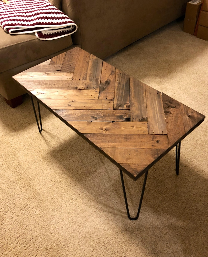 Attirant Herringbone Coffee Table With Hairpin Legs, Coffee Tables, Wooden Pallet  Table, Sofa Table, Pallet Furniture, Rustic Table, Entry Table,