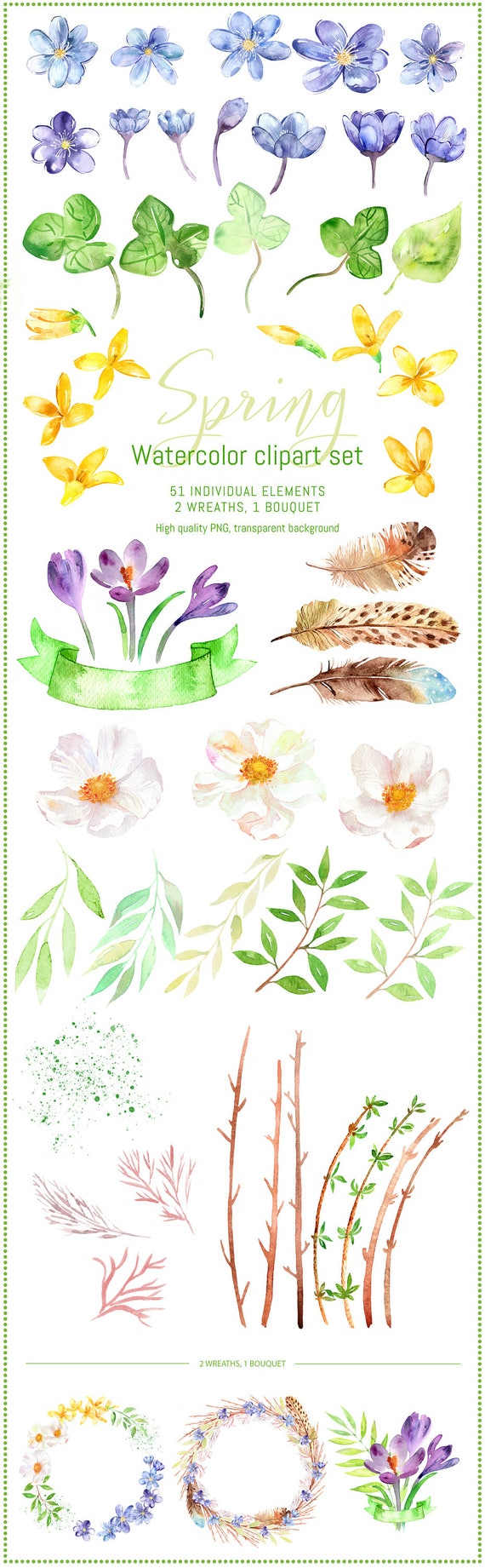 Watercolor Spring Clipart Set Spring Flowers Clipart Hand Etsy