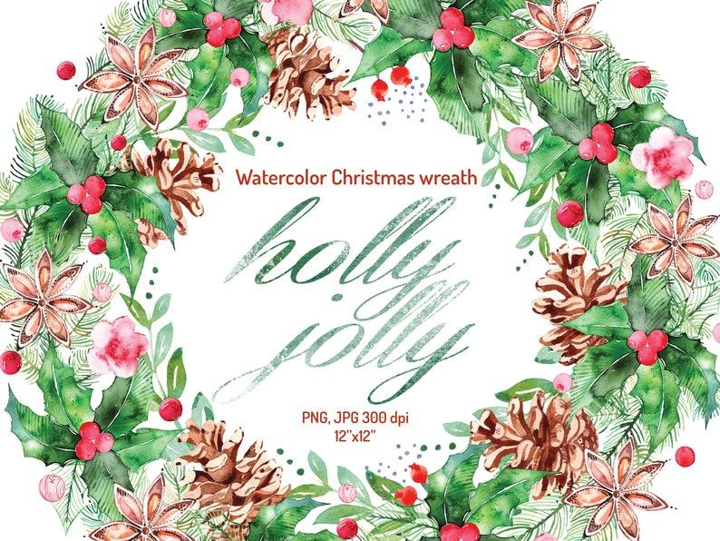 Watercolor Christmas Wreath Christmas Wreath Clipart Etsy