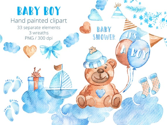 Baby Boy Clipart Set Watercolor New Baby Clip Art Hand Drawn Etsy