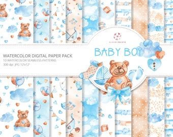 Baby Boy Digital Papers Watercolor Baby Seamless Pattern Hand Drawn Baby Illustration Blue Pattern Baby Shower Nursery Background Teddy Bear