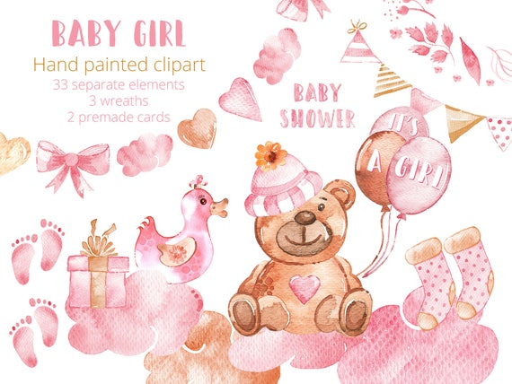 Baby Girl Clipart Set Watercolor New Baby Clip Art Hand Drawn Etsy