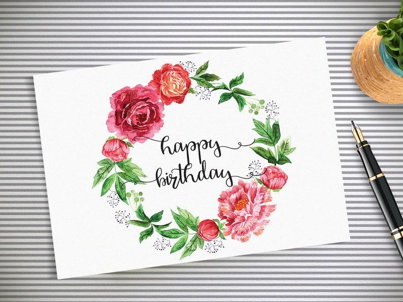 Happy Birthday Card Watercolor Floral Printable 35x5