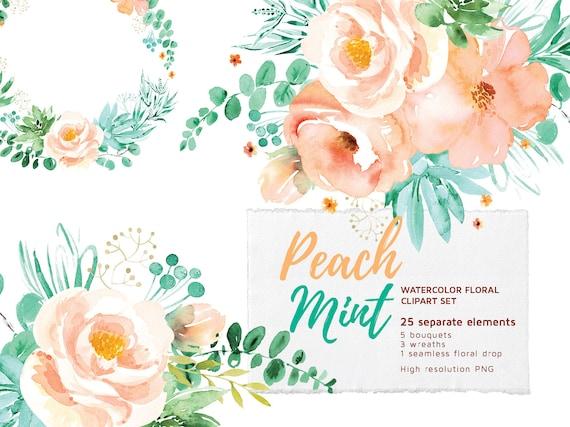 Peach Mint Floral Clipart Set Watercolor Flowers Clip Art ...