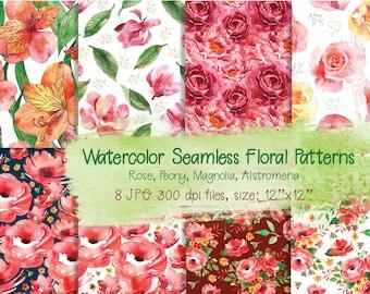 Watercolor Flowers digital paper | Floral digital paper | Watercolour Scrapbook Paper | Digital seamless Pattern | background