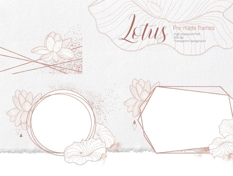 Pre-made clipart lotos flower png invites Lotus Floral Geometric Frames polygonal Rose gold wedding invitation crystal frames