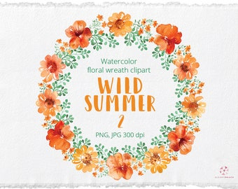 Watercolor Orange Floral wreath clipart   Watercolour Flowers wreath   Hand Painted Wedding graphics   Invitation