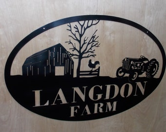 Custom Barn, Ford and Rooster Farm Sign