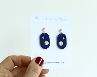 leather earrings / electric blue constellation