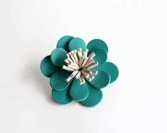 Barrette / clip leather Emerald