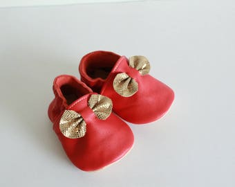 "soft leather - birth gift - baby booties pattern ""Rose"" red poppy"