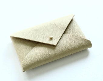 Leather card holder / mini pouch - pale yellow
