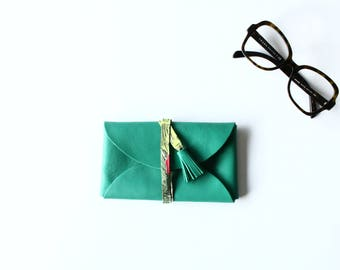 Leather - Pine Green glasses case