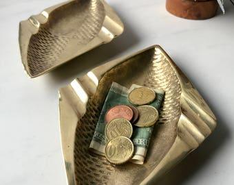 brass ashtray pair // art deco modern