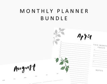 HUGE Monthly Planner Bundle, printable monthly calendars,printable planner,hand lettering,printables,instant download,student planner ,blank