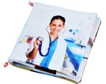 CLOTH BOOK for babies about professions, pictures of people in their workplaces, Soft fabric dyed non toxic inks, gift for infant, smart toy