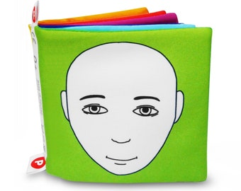 SOFT BOOK for Babies with Illustrations of Faces Expressing Emotions, High Contrast Faces with Colorful Background, Smart Gift for Infant 0+