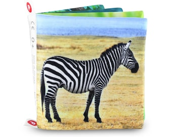 ZOO ANIMALS, Cloth Book for Baby, Montessori & Waldorf Style, Realistic Illustrations, Nontoxic Soft Fabric, Infant Smart Gift, Eco Toy, 0+