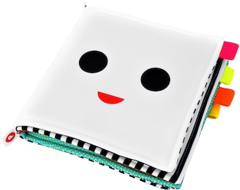 CLOTH BOOK for Newborn, Toy for Baby, High Contrast Baby Book, Art for Babies, Happy Smiley Face, Infant Stimulating Contrasting Patterns