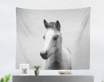 Baby horse wall tapestry Animal tapestry Horse lover gift Wall decorations Foal Nursery animal wall decor Black white animal Nursery prints