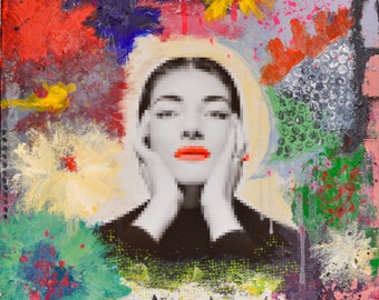 Modern and colorful portrait of Maria Callas