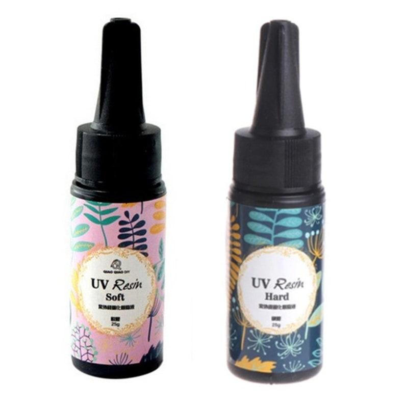 2pc UV resin, 25g Hard type UV resin, Soft type UV resin, Ultraviolet  resin, no mix resin, transparent clear resin, craft resin, gummy resin