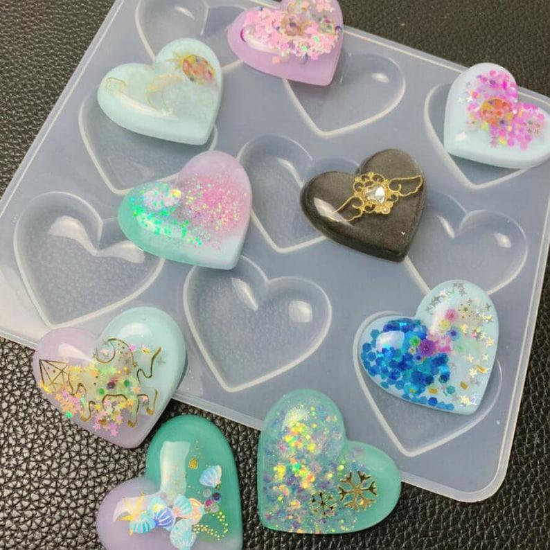 Cavity Clear Shiny Heart silicone mold, Resin mold, Silicone mould, charm  molds, heart mold, UV resin mold, resin charm mold, epoxy mold