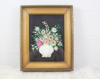Antique Ceramic Tile Floral Victorian Vintage Ocean Sea Shells Nature Seaweed