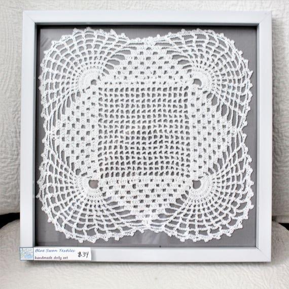 shabby framed art vintage doily lace wall art vintage lace   Etsy