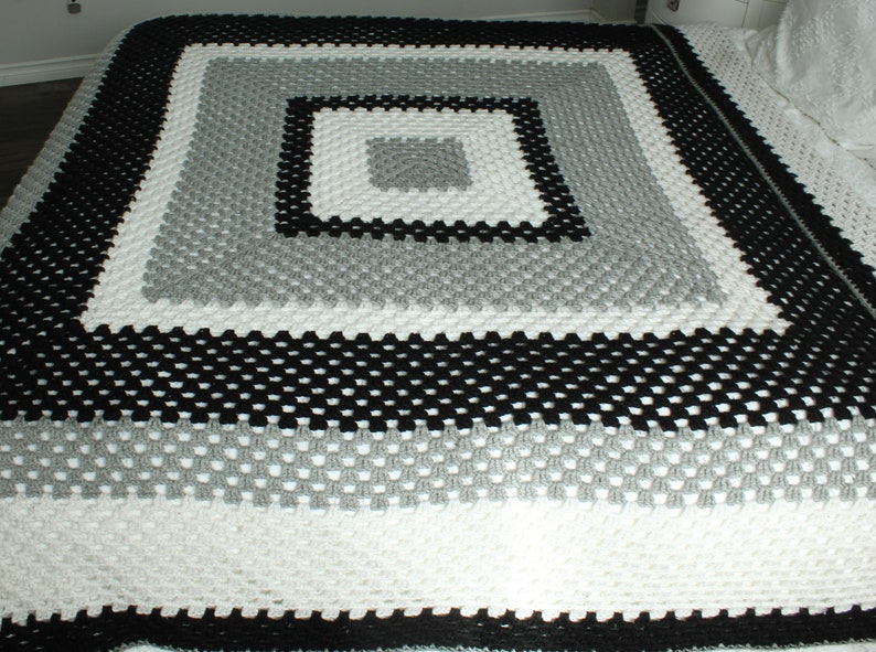 Cottage Cabin Crochet Queen Bedspread French Farmhouse 80 x 80 inch White Black Grey Shabby Cottage Quality Handmade Large Sofa Throw
