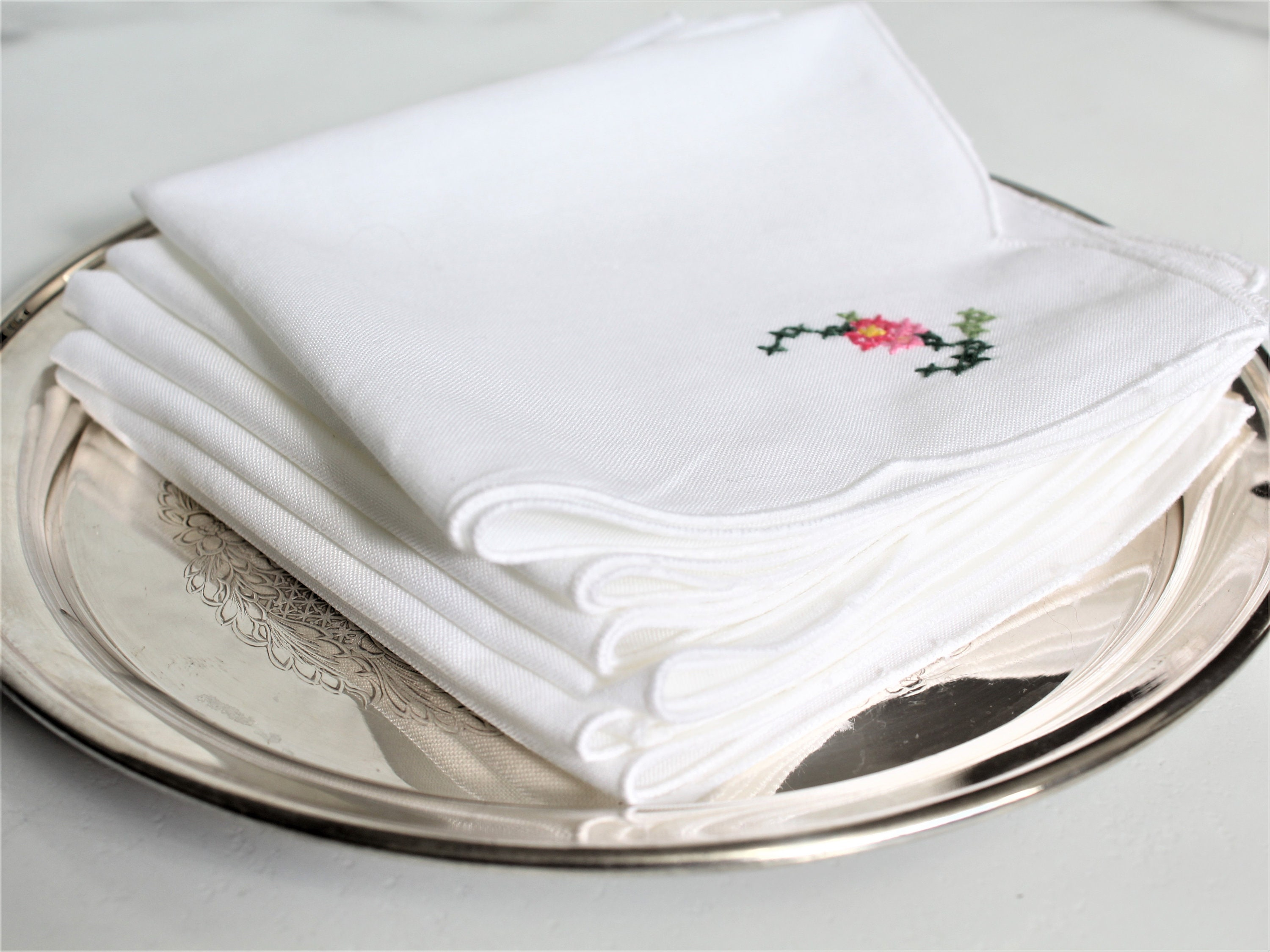 6 Pieces Embroidered Handmade Rosebud Ribbon Embroidery Fabric Tissue Box Cover