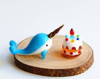 """2"""" Long Lampwork Glass Narwhal Figurine, Miniature Narwhal Figure, Unicorn of the Sea, Narwhal Cake Topper, Narwhal Birthday Cake"""