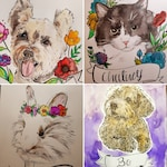 Custom Pet Portrait 8.5x11 ink and watercolor