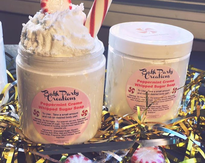 Peppermint Creme Whipped Exfoliating Sugar Scrub Holiday Gift Also Available in Gingerbread