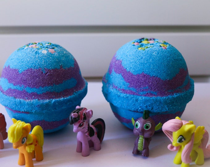 XL 11 oz My Little Pony Inspired Surprise Toy Inside, Foaming, Fizzing, Water Color Changing Bath Bomb, For Pony Lovers, Brony Gift