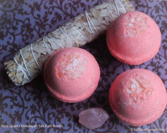 XL 11-12 oz  Bohemian Crystal Healing Himalayan Salt Bath Bomb, Geode Bomb, All Natural Bath Bomb with Raw Rose Quartz Crystal Inside