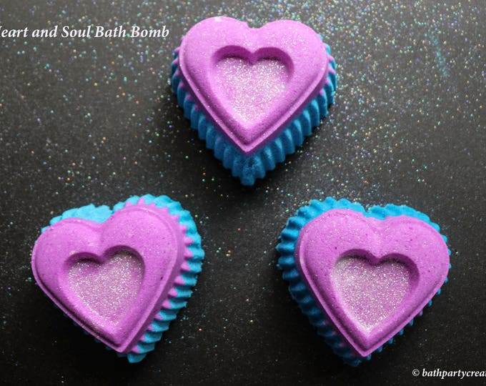 Heart of Gold and Heart and Soul XXL Foaming Bath Bombs in Strawberry Champagne and Love Spell, Essential Oil available