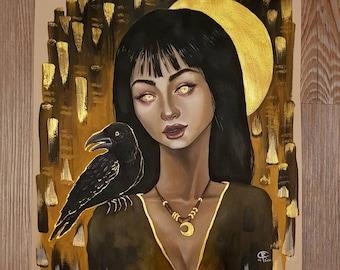 ORIGINAL PAINTING - midnight witch