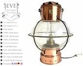 Antique French Copper Oil Lamp Light Hanging Hook Decor Display Prop Lighting Storm Light DHR Onion Nautical c1940-50 39 s EVE de France