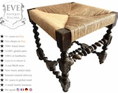 Antique French Wooden Brown Wood Woven Raffia Stool Small Chair Seating Design Refurbished Wicker Wickerwork c1900 39 s EVE de France