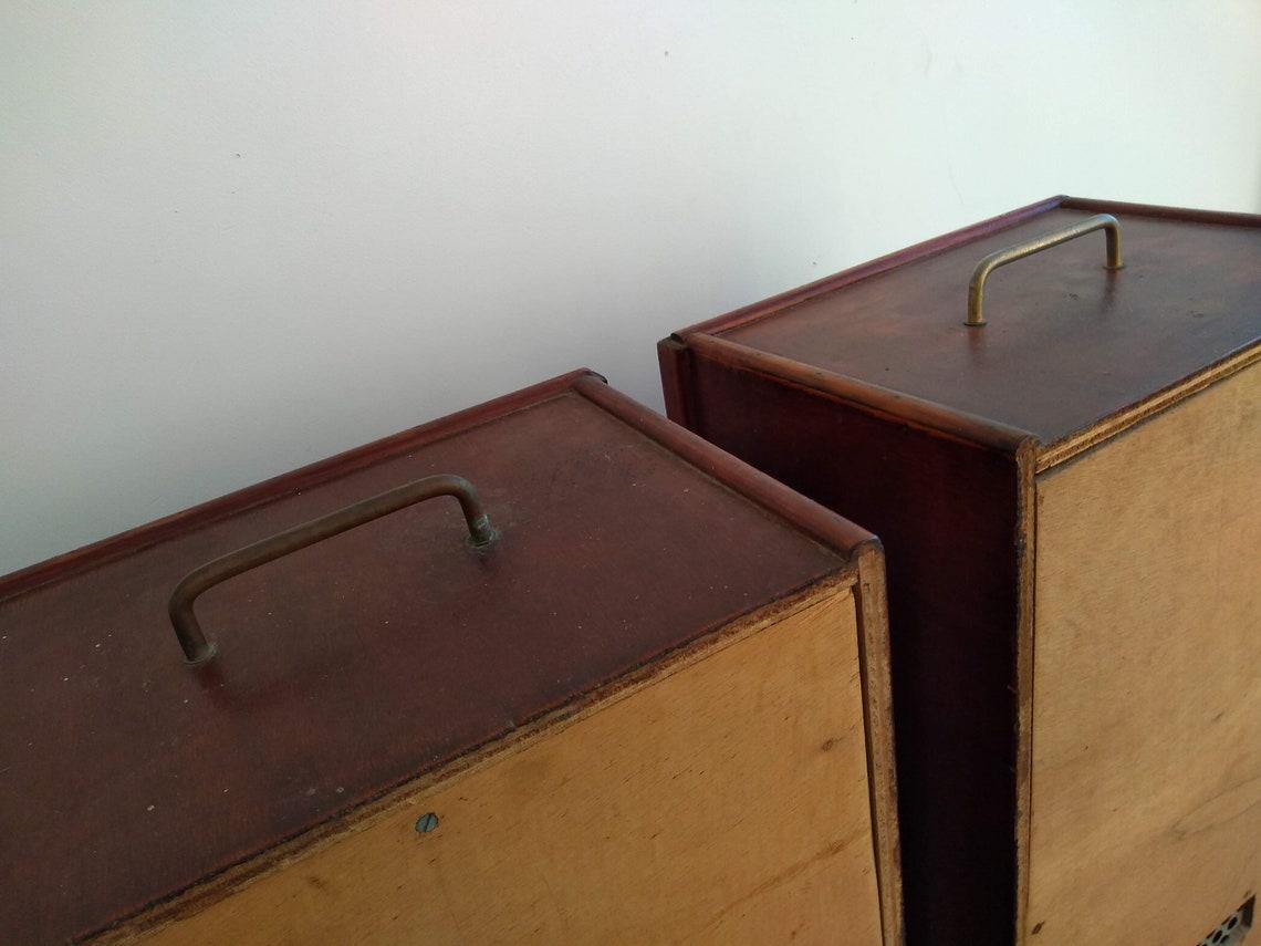 Vintage French Large Wood Wooden Brown Natural Wood Speaker Cabinet Mid Century Modern Satellite Legs Speakers Audio c1950's / EVE de France