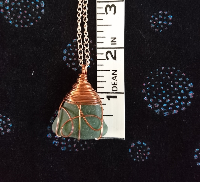 wrapped in copper wire with rose gold chain green colour Seaglass necklace