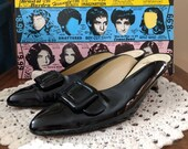 Vintage 80s Black Patent Mules, Slip On Kitten Heels -Size 7-