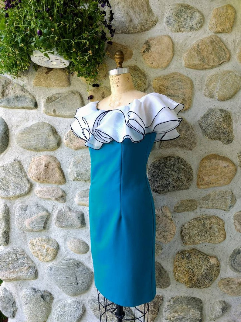 Vintage 80s Vavavoom Teal Dress With Fluffy White Ruffles Size M- Fun Cocktail Off-Shoulder Wiggle Dress