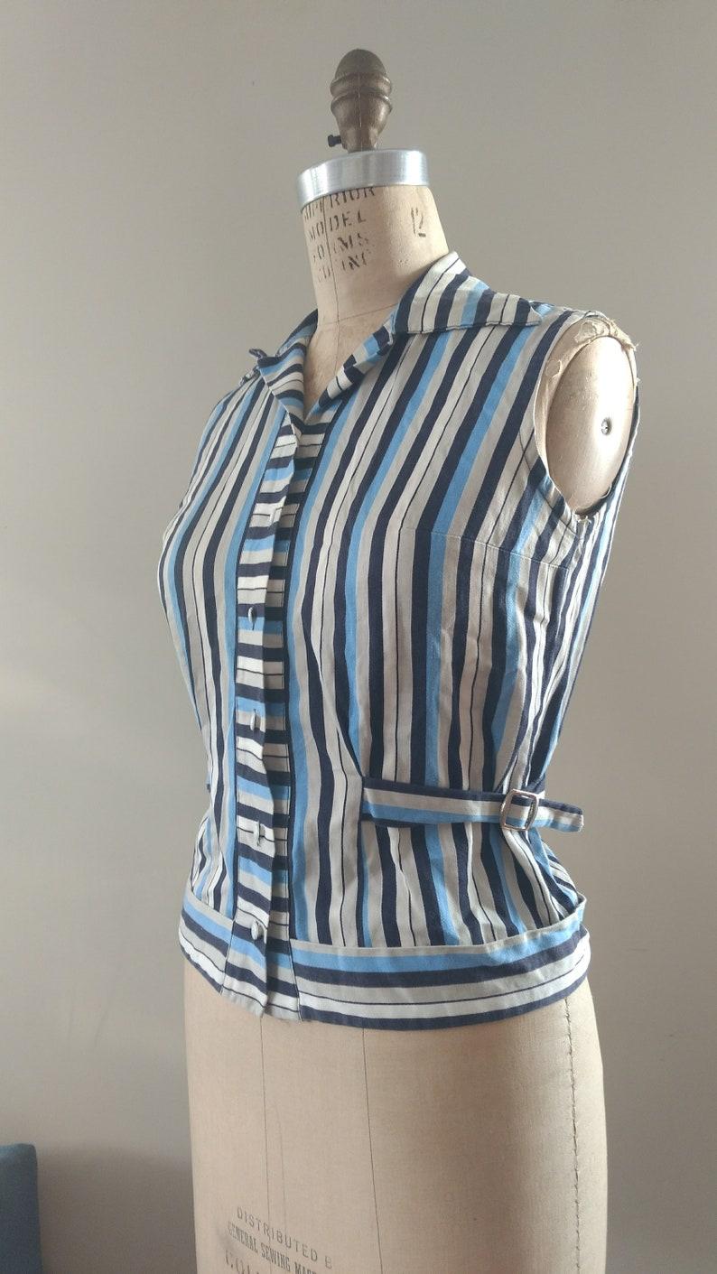 Vintage 70s Groovy Striped Sleeveless Shirt Size XSS-